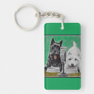 Scottie dogs Blackie and Whitie on the radio Double-Sided Rectangular Acrylic Keychain