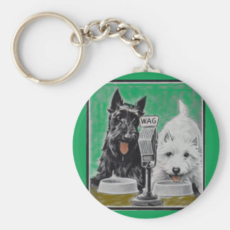 Scottie dogs Blackie and Whitie on the radio Keychain