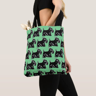 Scottie Dogs Green All-Over Print Tote Bag