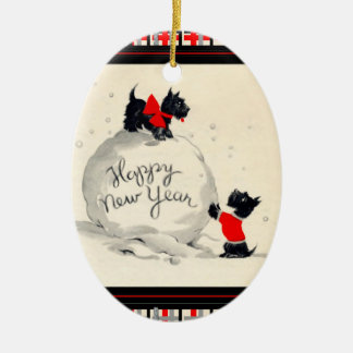 Scottie dogs Happy New Year Ceramic Ornament