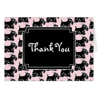 Scottie Dogs Light Pink and Black Thank You Card