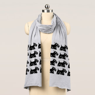 Scottie Dogs Pattern Jersey Scarf