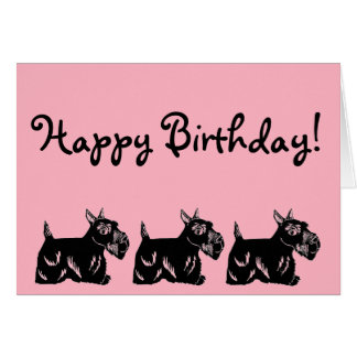 Scottie Dogs Pink Happy Birthday Card
