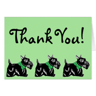 Scottie Dogs with Bows Green Thank You Card