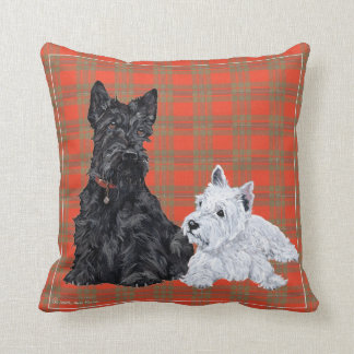 Scottie et chiot de Westie - coussin de Terrier