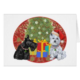 Scottie et Noël de Westie Carte De Vœux