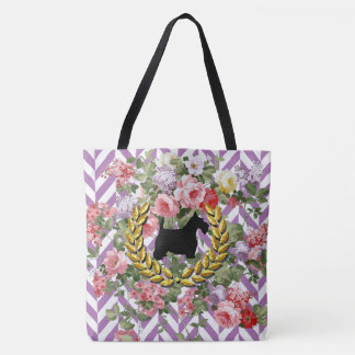 Scottie Floral Your Color Herringbone Tote Bag