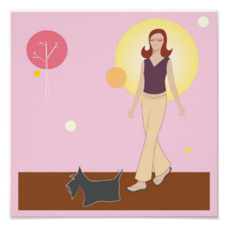 Scottie Gal Walking Poster