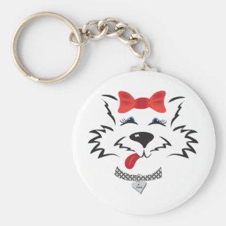 Scottie Girl Basic Round Button Keychain