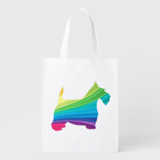 Scottie in Rainbow Reusable Grocery Bag