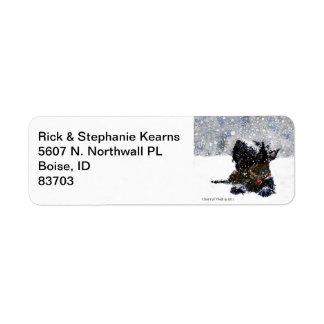 Scottie in Snow Return Address Label