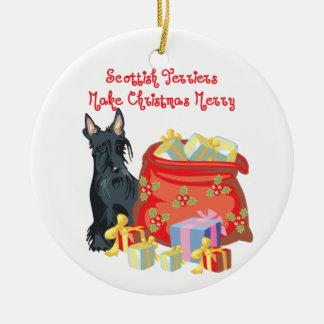 Scottie Merry Christmas Ceramic Ornament