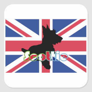 Scottie on the Union Jack Flag Square Stickers