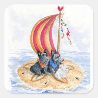 Scottie Sailing Trio Square Sticker