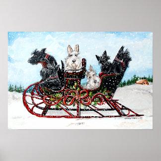 Scottie Sleigh Ride Poster