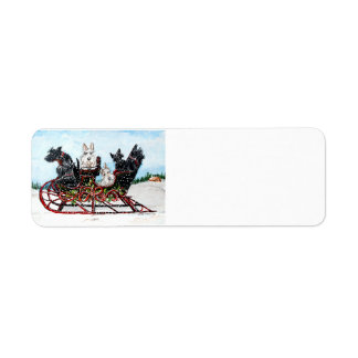 Scottie Sleigh Ride Return Address Label