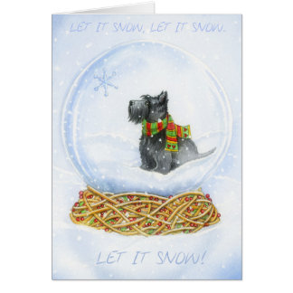 Scottie Snow globe Christmas Card