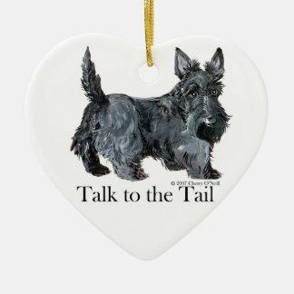Scottie Talk to the Tail Ceramic Ornament