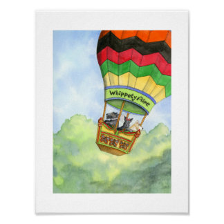 Scottie trio hot air ballooning poster