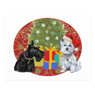 Scottie & Westie Christmas Postcard