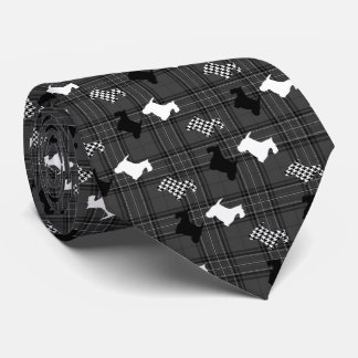 Scotties and Charcoal Plaid Tie