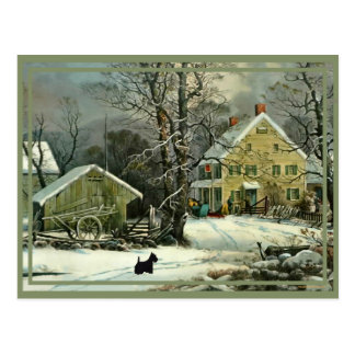 Scotties in Winter, Home for the Holidays Postcard