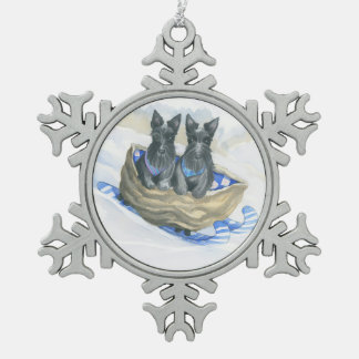 Scotties With A Walnut Sleigh Pewter Snowflake Ornament