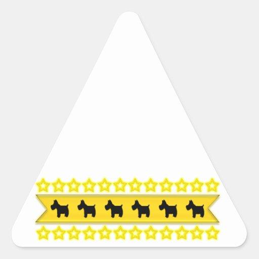Scotties with Stars Triangle Sticker
