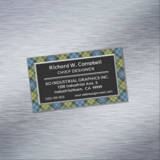 Scottish Accent Campbell Tartan Plaid Magnetic Business Card