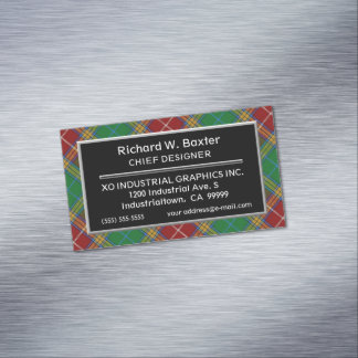 Scottish Accent Clan Baxter Tartan Magnetic Business Card