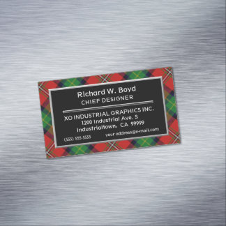 Scottish Accent Clan Boyd Tartan Magnetic Business Card