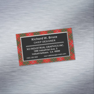 Scottish Accent Clan Bruce Tartan Magnetic Business Card