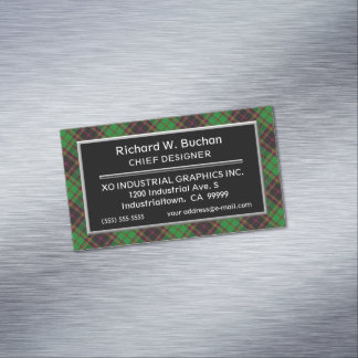 Scottish Accent Clan Buchan Tartan Magnetic Business Card