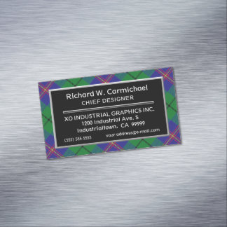 Scottish Accent Clan Carmichael Tartan Magnetic Business Card
