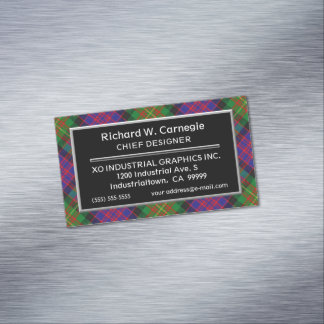 Scottish Accent Clan Carnegie Tartan Magnetic Business Card