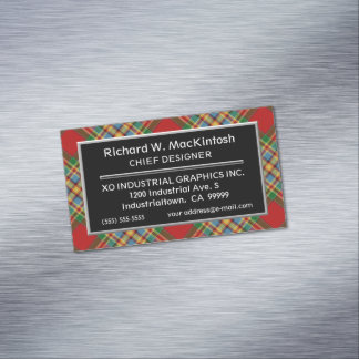 Scottish Accent Clan Chattan Tartan Magnetic Business Card