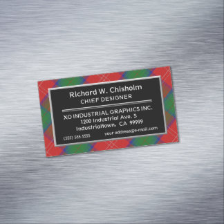 Scottish Accent Clan Chisholm Tartan Magnetic Business Card