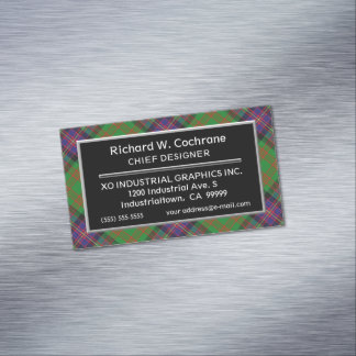 Scottish Accent Clan Cochrane Tartan Magnetic Business Card