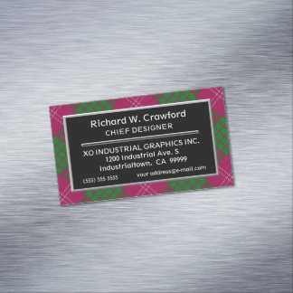 Scottish Accent Clan Crawford Tartan Magnetic Business Card