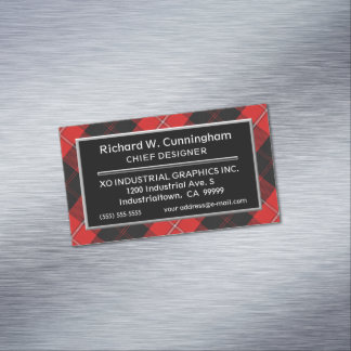 Scottish Accent Clan Cunningham Tartan Magnetic Business Card