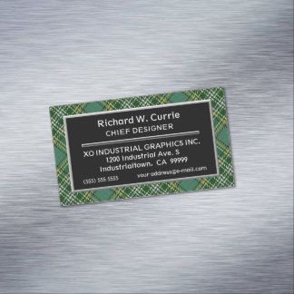 Scottish Accent Clan Currie Tartan Magnetic Business Card