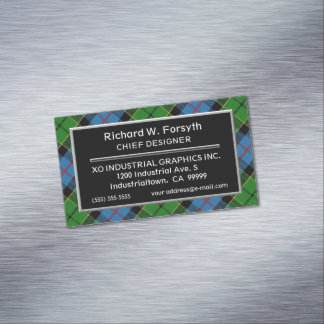 Scottish Accent Clan Forsyth Tartan Magnetic Business Card