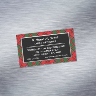 Scottish Accent Clan Grant Tartan Magnetic Business Card
