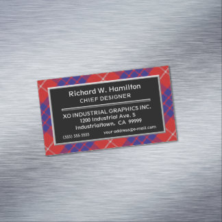 Scottish Accent Clan Hamilton Tartan Magnetic Business Card