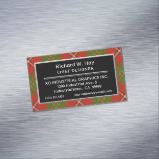Scottish Accent Clan Hay Tartan Magnetic Business Card