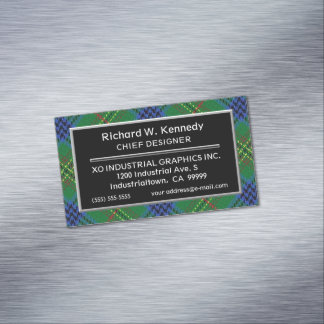Scottish Accent Clan Kennedy Tartan Magnetic Business Card