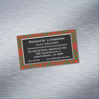 Scottish Accent Clan Livingstone Tartan Magnetic Business Card