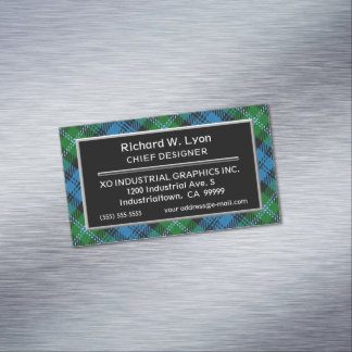 Scottish Accent Clan Lyon Tartan Magnetic Business Card