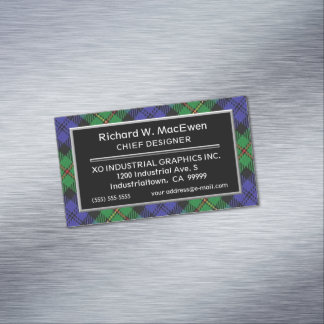 Scottish Accent Clan MacEwen Tartan Magnetic Business Card