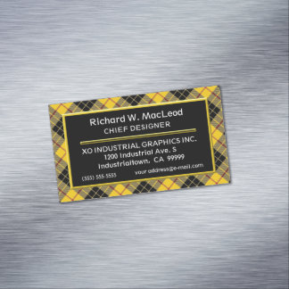 Scottish Accent Clan MacLeod Tartan Magnetic Business Card